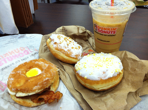 Dunkin' Donuts Bacon Egg Glazed Donut Sandwich